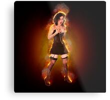showgirl in lingerie and stockings  Metal Print