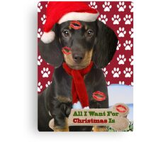 Dachshund Kisses For Christmas Canvas Print