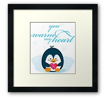 "PENGUIN ""you warm my heart"" Framed Print"