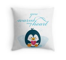 "PENGUIN ""you warm my heart"" Throw Pillow"