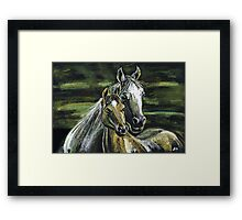 "Tenderness""Pastel Horse painting, Romantic Drawing Art, Landscape Framed Print"