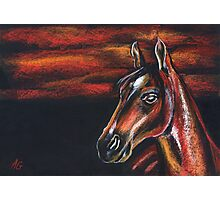 "Red horse"" Pastel Horse painting, Romantic Drawing Art Photographic Print"