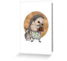 Yuletide Hedgehog & Hoglets Greeting Card