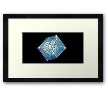 Rubik's Cube inside a Cube (added lightning effects). Framed Print