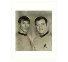 Leonard Nimoy and William Shatner, Star Trek Vintage Art Print