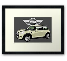 2014 Mini Cooper white Framed Print