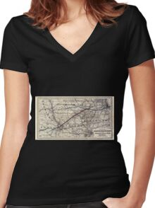 0230 Railroad Maps Map of the Chicago and Southwestern Railway and the Chicago Rock Island Pacific Railroad and their Women's Fitted V-Neck T-Shirt