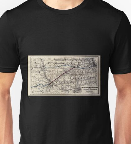 0230 Railroad Maps Map of the Chicago and Southwestern Railway and the Chicago Rock Island Pacific Railroad and their Unisex T-Shirt