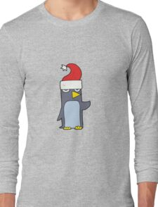cartoon penguin in christmas hat Long Sleeve T-Shirt