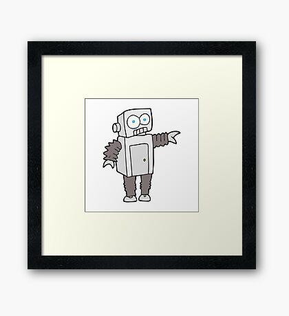 cartoon robot Framed Print