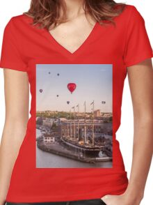Balloons over the SS Great Britain in Bristol Women's Fitted V-Neck T-Shirt