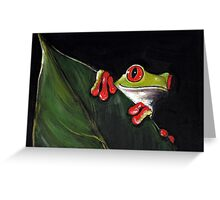 Midnight Mischief  -  Original Painting Red-Eyed Tree Frog Greeting Card