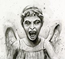 Weeping Angel Watercolor - Doctor Who Fan Art by OlechkaDesign