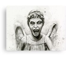 Weeping Angel Watercolor - Doctor Who Fan Art Canvas Print