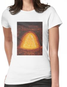 Pueblo Kiva Fireplace original painting Womens Fitted T-Shirt