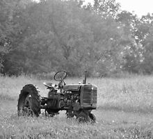 Farm Tractor At Rest In Black And White by Jeff Alexander