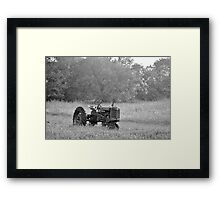 Farm Tractor At Rest In Black And White Framed Print