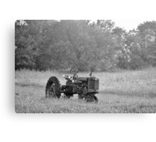 Farm Tractor At Rest In Black And White Canvas Print