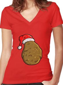christmas potato Women's Fitted V-Neck T-Shirt
