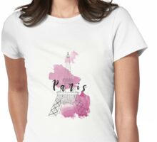 Paris in Watercolour Womens Fitted T-Shirt