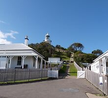 The two Cottages & Sugarloaf Point Lighthouse. N.S.W. Nth. Coast. by Rita Blom