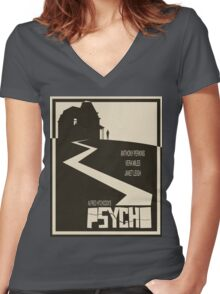 Psycho Movie Poster - Beige Version Women's Fitted V-Neck T-Shirt