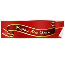 Happy New Year Ribbon Poster