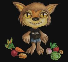 vegan werewolf and veggies Kids Tee