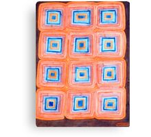 Twelve Red and Blue Melted Together Squares  Canvas Print