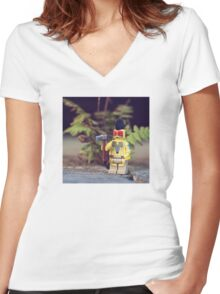 ::: { THE MOHICAN } ::: Women's Fitted V-Neck T-Shirt