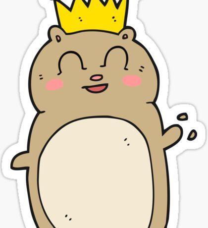 cartoon waving hamster Sticker