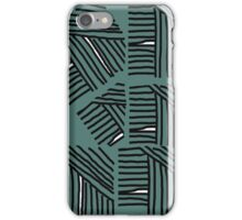 Line pattern black and green iPhone Case/Skin