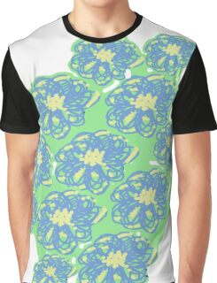 Blue,mint and yellow floral pattern Graphic T-Shirt