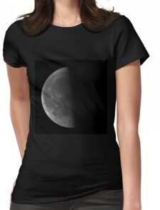 Last quarter Moon on black sky background Womens Fitted T-Shirt