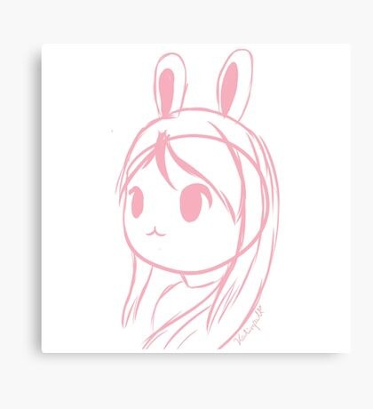 Doodle of a girl with ears Canvas Print