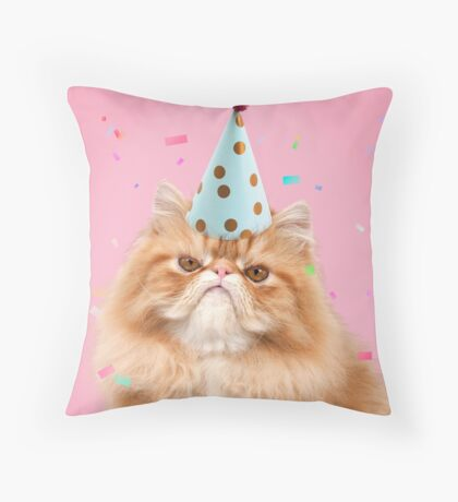 Grumpy cat wearing a party hat Throw Pillow