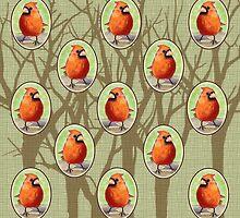 Cottage Cardinals by BDMillustration