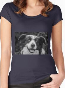 expression of a border collie Women's Fitted Scoop T-Shirt