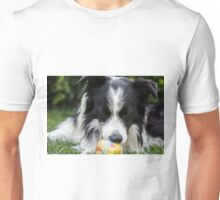 portrait of a border collie dog while playing with a ball Unisex T-Shirt