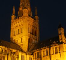 Norwich Cathedral at Night Sticker