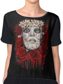 """Day of The Dead """"Roses"""" Chiffon Top"""
