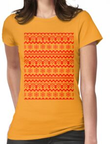 PATTERN SNOWFLAKES (red) Womens Fitted T-Shirt