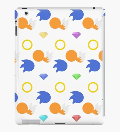 Sonic and Tails chaos emeralds (white) iPad Case/Skin