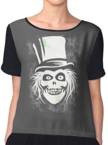 HATBOX GHOST WITH GRUNGY HAUNTED MANSION WALLPAPER Chiffon Top