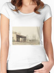 Foggy Morning at the Station - Antique Styled Women's Fitted Scoop T-Shirt