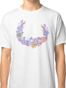 Boho Watercolor Succulents Wreath Classic T-Shirt