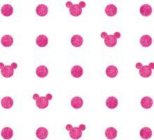Glittery Pink Mickey Polkadot Pattern Sticker