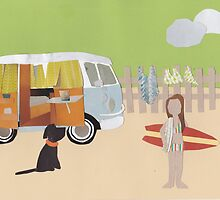 Surf's up trailer park - southern hemisphere by Sandy Mitchell