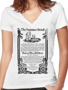 Old Ads - The Summer Drink, Pabst Blue Ribbon Women's Fitted V-Neck T-Shirt
