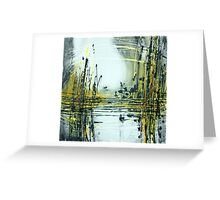 Silvery Moon over Golden Lake Greeting Card